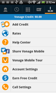 vonage app menu